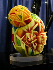 Watermelon and cantaloup sculptures inst