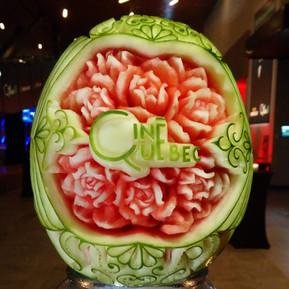 Melon d'eau sculpté, soirée Ciné-Québec.