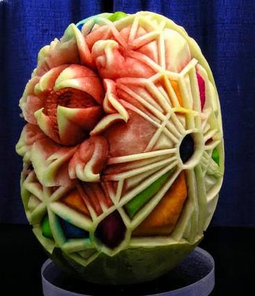 Detail of Watermelon sculptures installa
