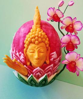 Melon d'eau sculpté buddah sculpté sur c