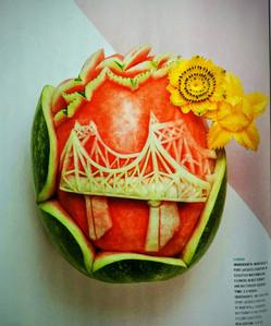 Pièce unique, sculptures sur fruits et l