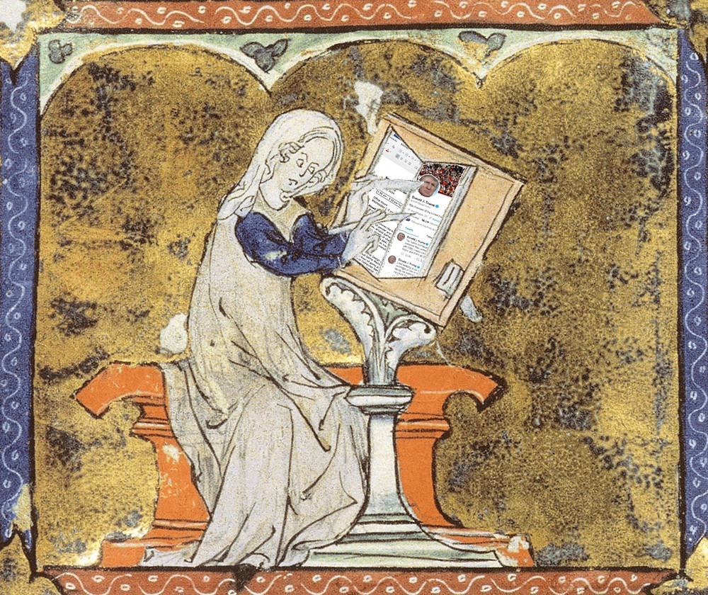 Marie de France sits and reads Twitter