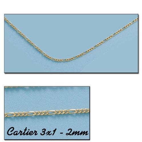 CO592 CADENA ORO 18KL CARTIER 3X1 HUECA 2MM