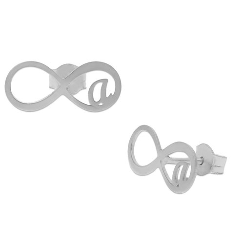 AG1603 PENDIENTES INFINITO + INICIALES PLATA 925MM