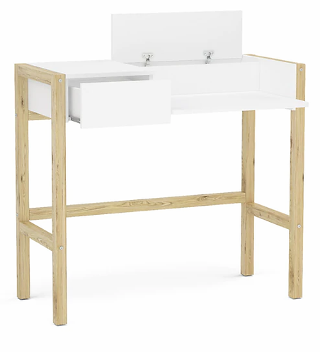 Valentina Study Table with One Drawer in White Finish