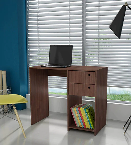 Hanako Study Table with Two Drawer in Nut Brown Finish