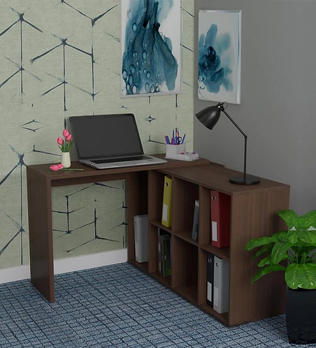 Mura Study cum Work Desk with Book Shelf in Nut Brown Finish