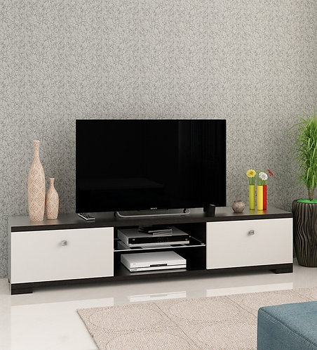 Astron TV Console in Natural Wenge and Frosty White Finish