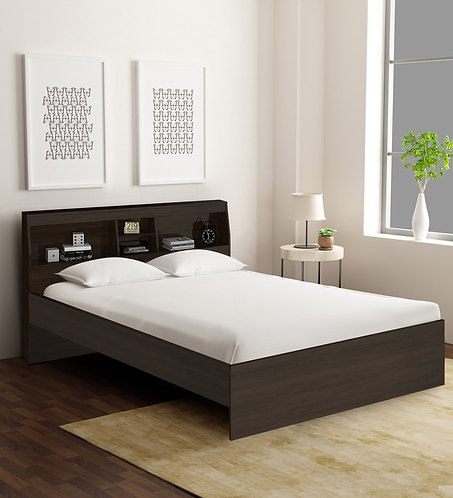 Okinawa Queen Size Bed with Headboard Storage in Chocolate Finish