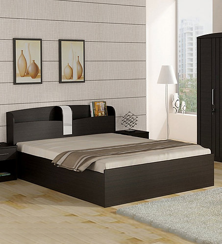 Kosmo Imperial Queen Size Bed with Storage in Natural Wenge Finish