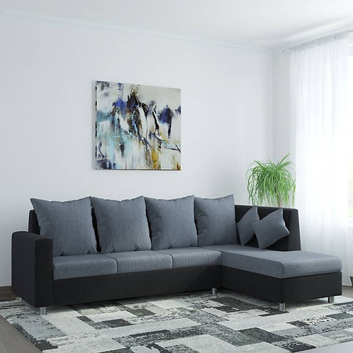 Fraser - 3+1 Sectional Sofa (Grey & Black)