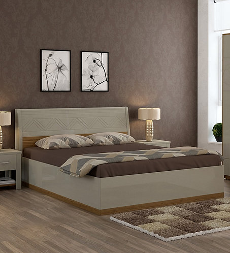 Catalina King Size Bed with Storage in Natural Teak Wood Finish