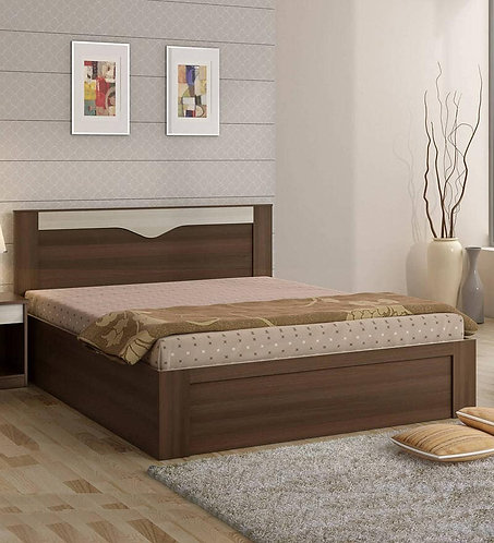 Crescent King Size Bed with Storage in Dark Acacia Finish