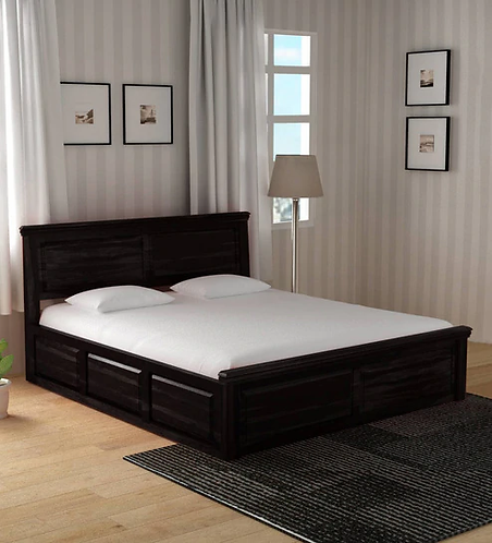 Stanfield Solid Wood King Size Bed with Storage in Warm chestnut Finish