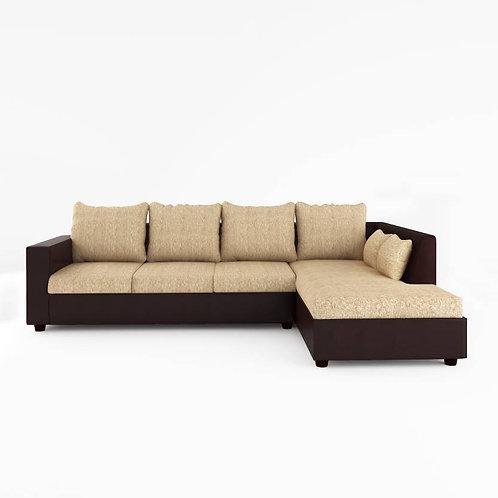 Nandor - 3+L Sectional Sofa (Cream & Brown)