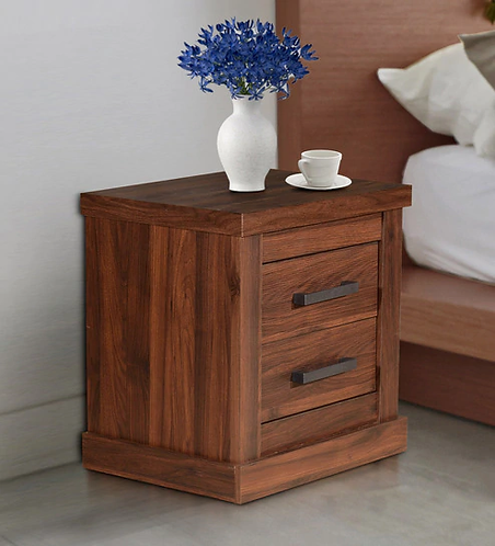 Touma Bedside Table with Two Drawers in Walnut Finish