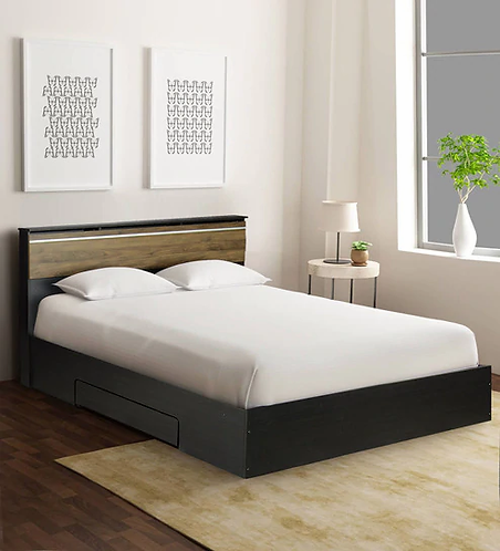 Enri King Size Bed with Storage in Wenge Finish