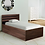 Thumbnail: Cocoa Single Bed with Storage in Black & Dark Acacia Matte Finish