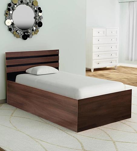 Cocoa Single Bed with Storage in Black & Dark Acacia Matte Finish