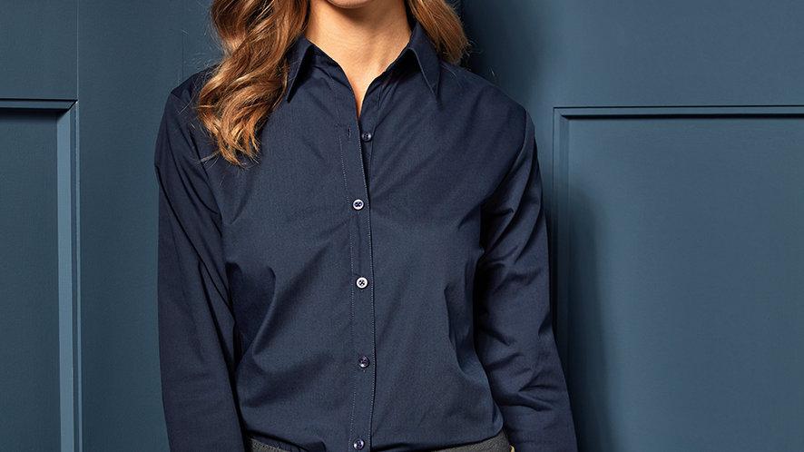 Premier Ladies Long Sleeve Poplin Blouse