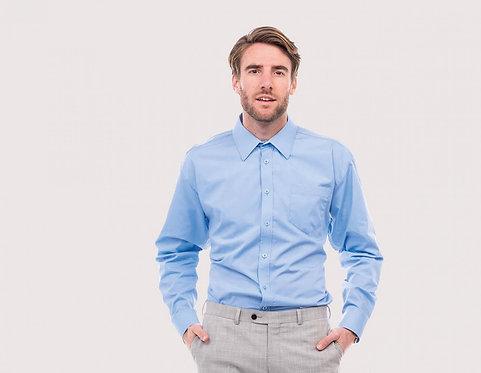 Uneek Men's Tailored Fit Long Sleeve Poplin Shirt