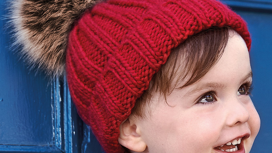 Beechfield Infant Faux Fur Pom Pom Chunky Beanie