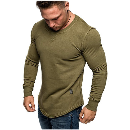 Men′s Solid Color Round Neck Slim Stitching Long Sleeves