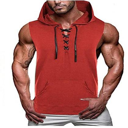 Men Sports Hooded T Shirt Sleeveless Vest