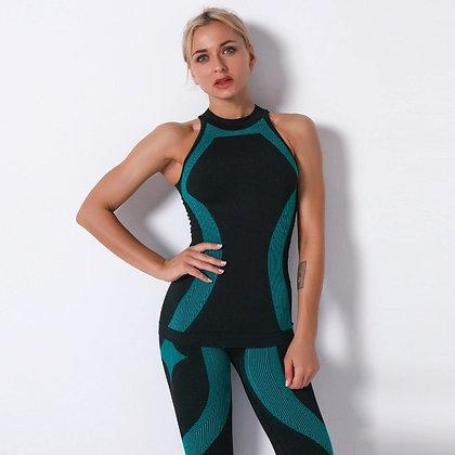Women Yoga 2-piece set. Pants &  Sleeve Seamless Vest Fit High Impact