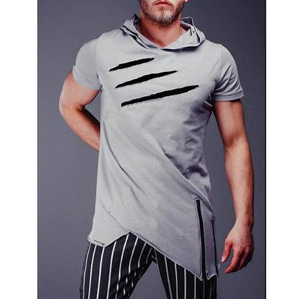 Men′s T-Shirt Hooded Zipper Long Round Neck Hooded