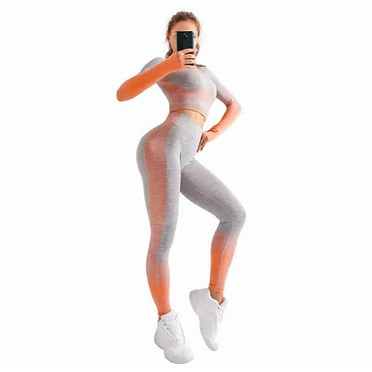 Ladies Stretchy Running Leggings High Waist Seamless 2 Pieces