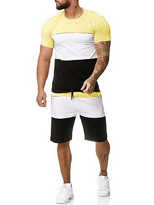 Casual T-Shirt Shorts Style Slim Two-Piece Suit