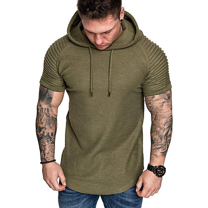 Casual Solid Color Slim-Fit Collarless Hooded T-Shirt