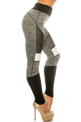 HEATHER GRAY HIGH WAISTED COLOR BLOCK WORKOUT LEGGINGS