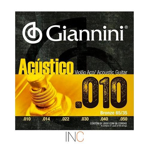 Encordoamento Gianniniviolao  Acustico aço 0.10