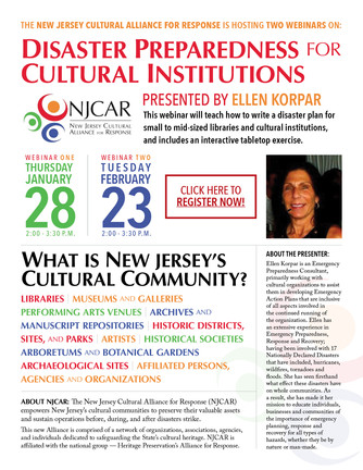 Disaster Preparedness for Cultural Institutions Webinar - 2 Dates Available