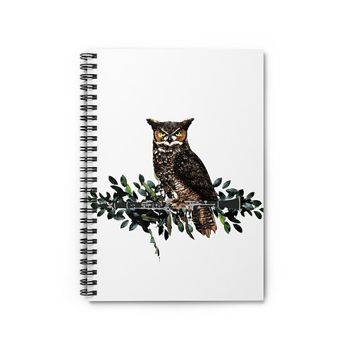 Owl on a Clarinet Branch Spiral Notebook - Ruled Line