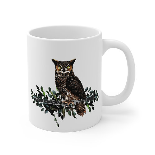 Owl on a Clarinet Branch Mug 11oz
