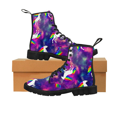 Claricorns in Space Women's Canvas Combat Boots