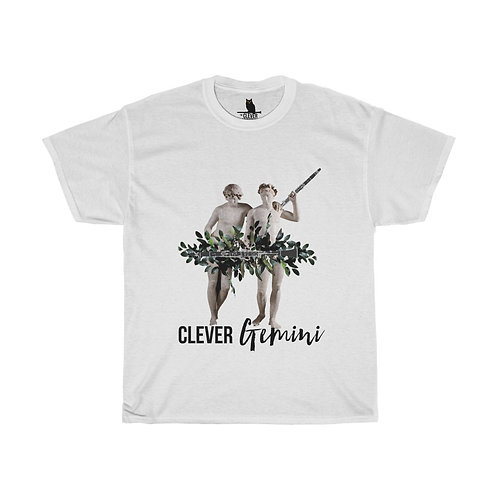 Clever Gemini & Clarinet Unisex Heavy Cotton Tee