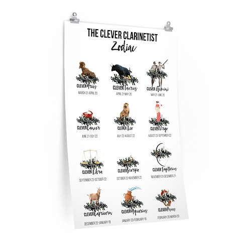 Clever Clarinetist Zodiac Posters