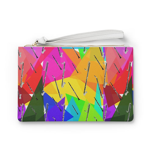 Colorful Triangles & Clarinets Clutch Bag