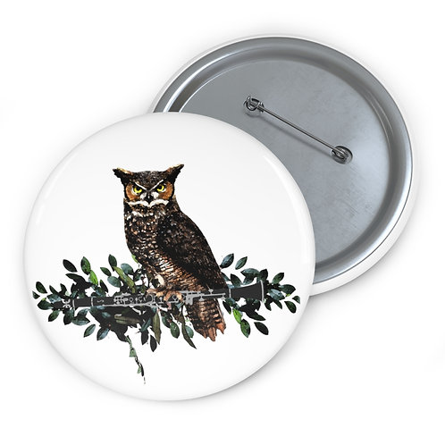 Clever Owl & Clarinet Pin Buttons