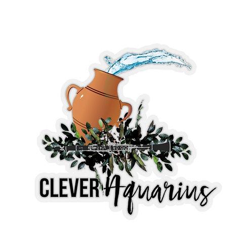 Clever Aquarius & Clarinet Kiss-Cut Stickers
