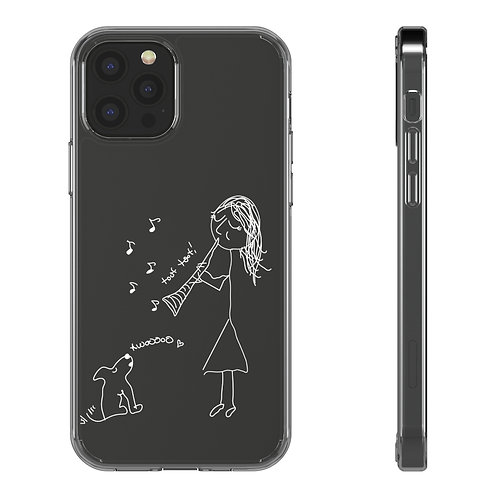 Serenade for Clarinet & Puppy Transparent iPhone Case