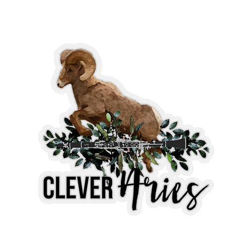 Clever Aries & Clarinet Kiss-Cut Stickers