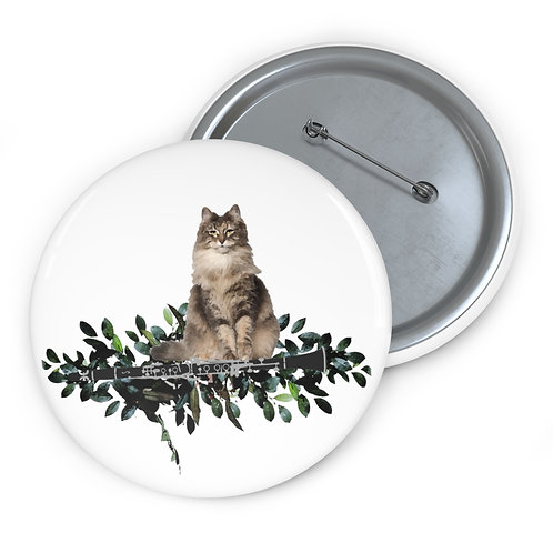 Clever Cat & Clarinet Pin Buttons