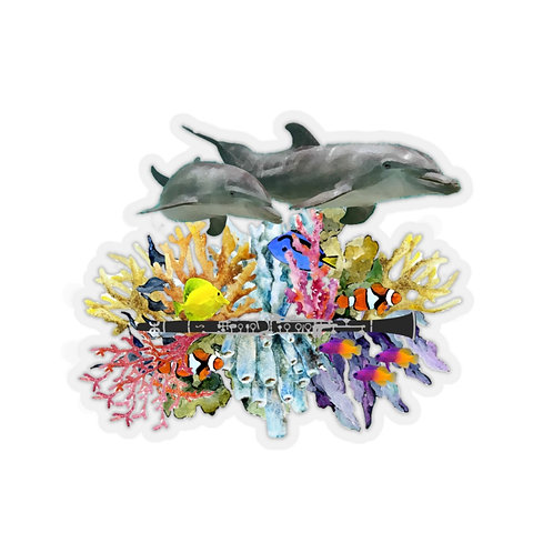 Clever Dolphin & Clarinet Kiss-Cut Stickers