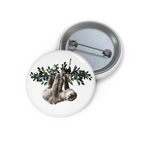 Clever Sloth & Clarinet Pin Buttons