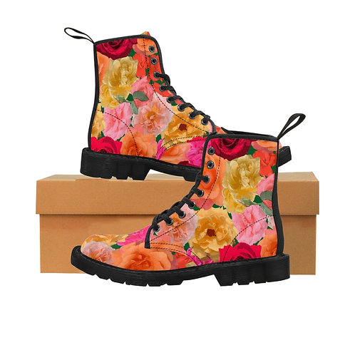 Roses of Loose Park Women's Canvas Combat Boots